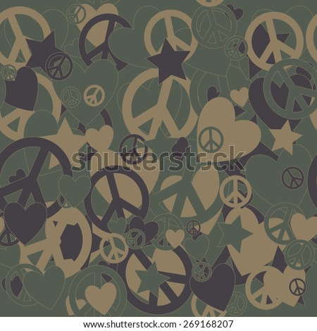 Surreal Military Camouflage Background with Love and Peace sign and Stars - stock vector