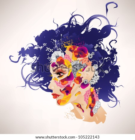 Surrealistic vector girl with flowers - stock vector