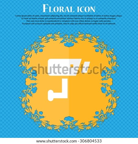 Surveillance Camera . Floral flat design on a blue abstract background with place for your text. Vector illustration - stock vector
