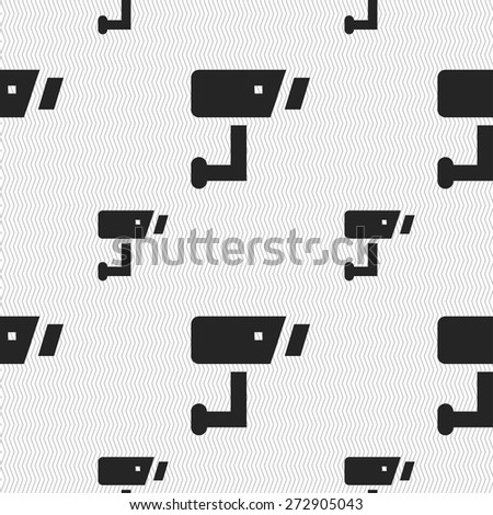 Surveillance Camera icon sign. Seamless pattern with geometric texture. Vector illustration - stock vector