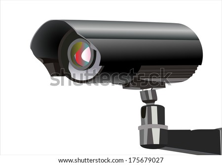 Surveillance camera viewed from the side - stock vector