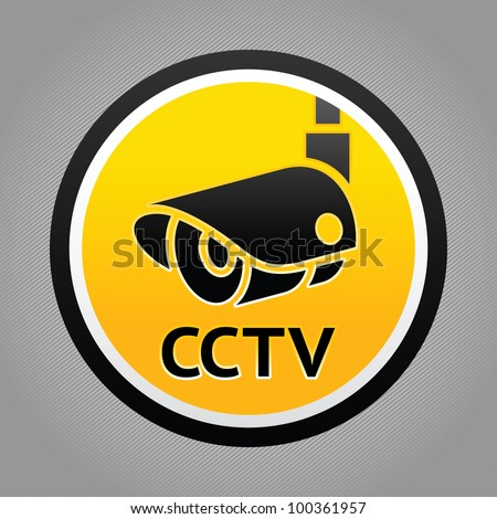 Surveillance camera warning sign. Vector design element - stock vector