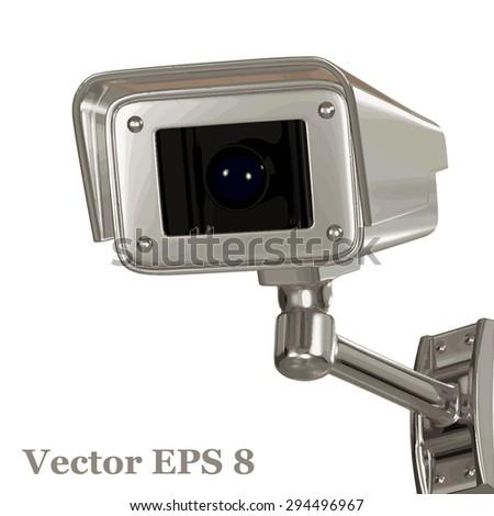 Surveillance security camera, vector eps 8. - stock vector
