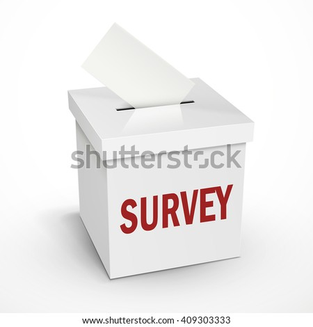 survey word on the 3d illustration white voting box isolated on white background - stock vector