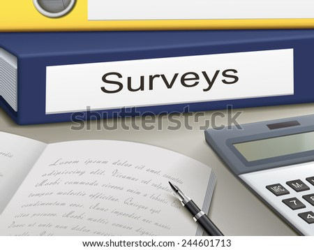 surveys binders isolated on the office table - stock vector