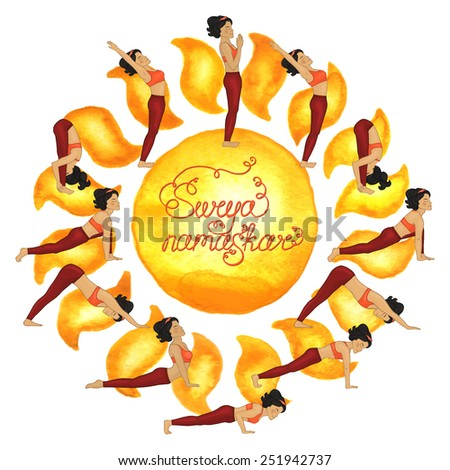 Surya namaskar complex asanas (Hatha Yoga) - stock vector