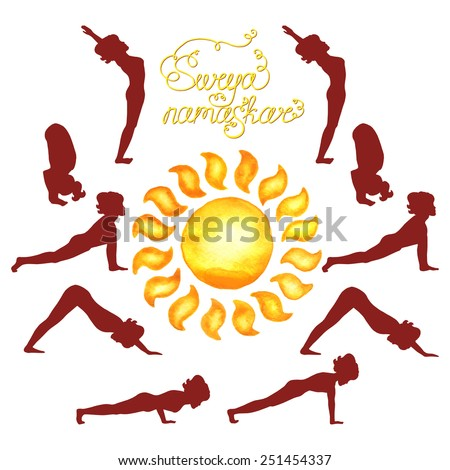 Surya Namaskar (Hatha Yoga) watercolor sun (silhouette) - stock vector