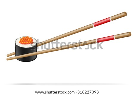 sushi and chopsticks vector illustration isolated on white background - stock vector