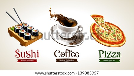 Sushi, coffee and pizza isolated on white. Vector illustration. - stock vector