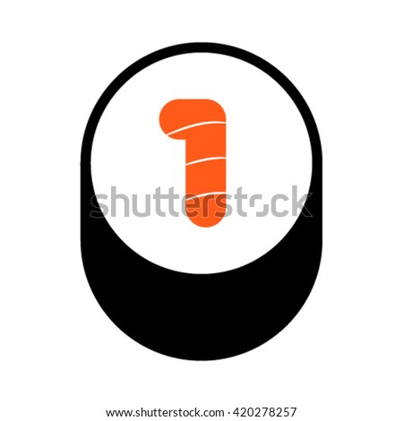 Sushi font, number 1, vector. - stock vector