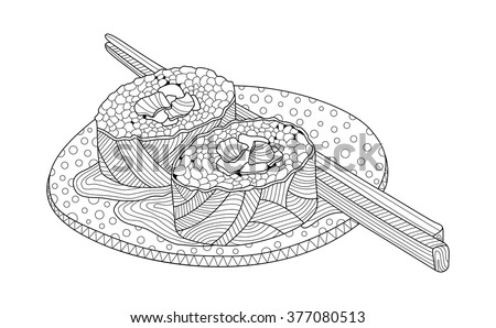 Sushi on a plate Coloring Book Illustration - stock vector