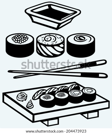 Sushi on a wooden board with chopsticks - stock vector