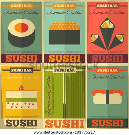 Sushi Posters Set in Flat Design. Vector Illustration. - stock vector