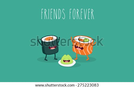 Sushi roll and wasabi. Japanese food. Vector cartoon. friends forever. Comic characters. - stock vector