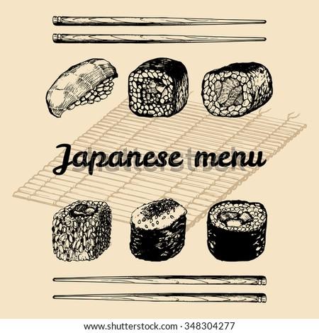 Sushi roll. Vector hand drawn asian menu illustration. Vector sushi set. Japanese food menu. Asian menu design. Sushi, rolls, chopsticks illustration. - stock vector