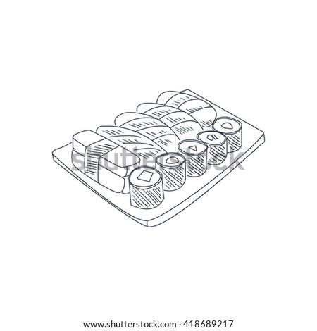 Sushi Set Hand Drawn Cool Monochrome Vector Contour Sketch  - stock vector