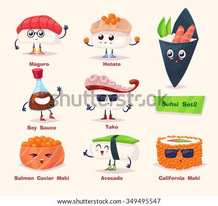Sushi set. Soy sauce, wasabi and sushi rolls. Japanese food. Vector cartoon illustration. Cute stylish characters. - stock vector