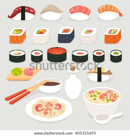 Sushi set. Sushi vector cartoon style.Japanese food objects set vector illustration.Sushi cartoon style icon.Soy sauce and sushi roll, Tom Yam soup and noodles with prawns.Isolated on white background - stock vector