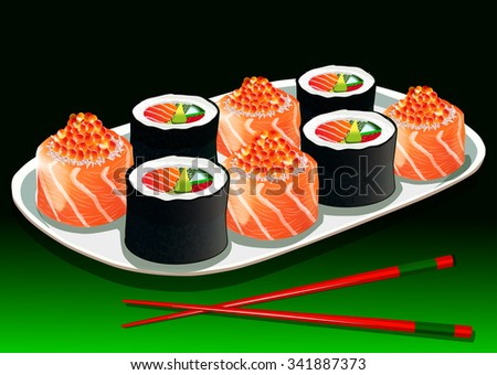 Sushi set with chopsticks, on a white porcelain plate, vector illustration - stock vector