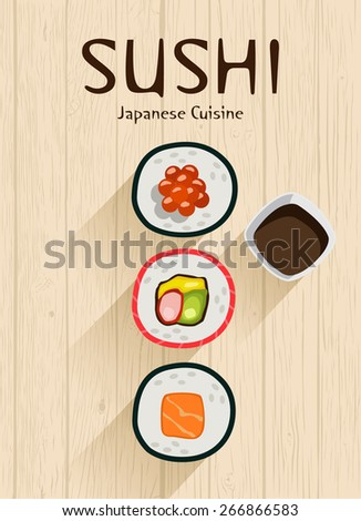 Sushi vector background. Japanese cuisine. Vector illustration - stock vector