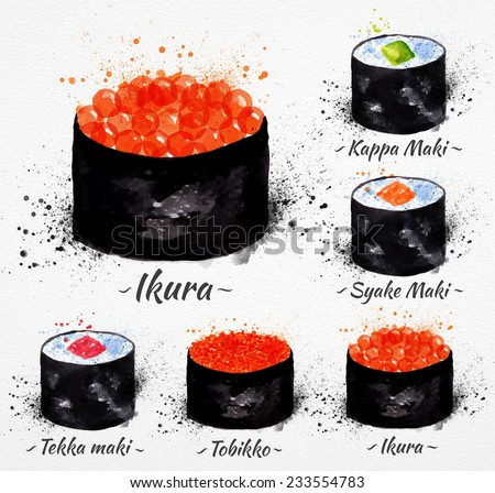 Sushi watercolor set hand drawn with stains and smudges maki, kappa maki, syake maki, ikyra, tobikko, tekka maki - stock vector