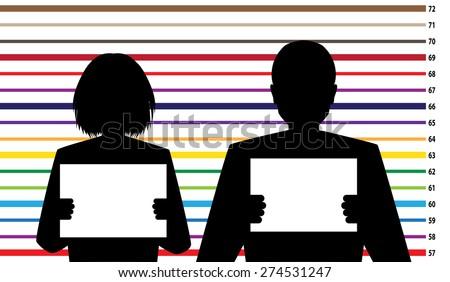 Suspect identification, criminal records - stock vector