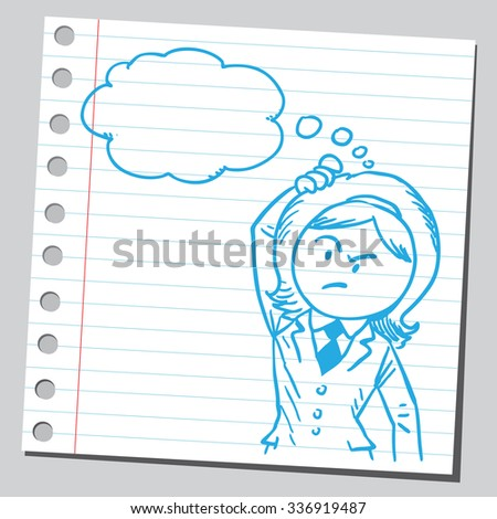 Suspicious businesswoman thinking - stock vector