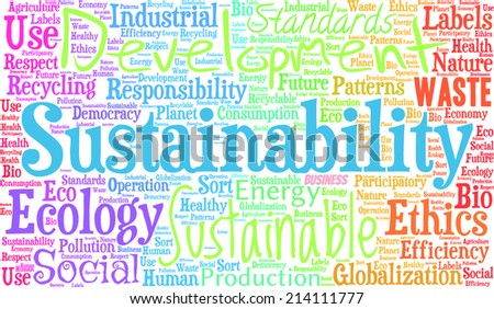 Sustainability word cloud - stock vector