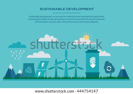 Sustainable development. Web banner with flat sustainable development elements. Environmental concept providing the natural resources and ecosystem services. Vector illustration. - stock vector