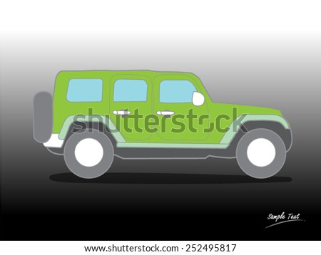 SUV car isolated on green - stock vector