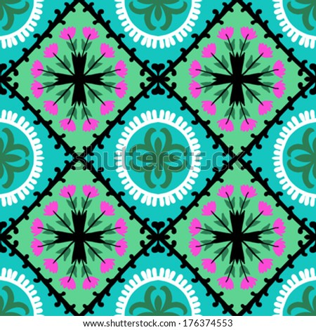 Suzani, vector seamless ethnic pattern with Uzbek, Turkish and Kazakh motifs. in bright vibrant colors. Texture for web, print, wallpaper, home decor, summer fall fashion textile, fabric, ceramic tile - stock vector