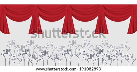 swag curtains with reaching hands below  - stock vector