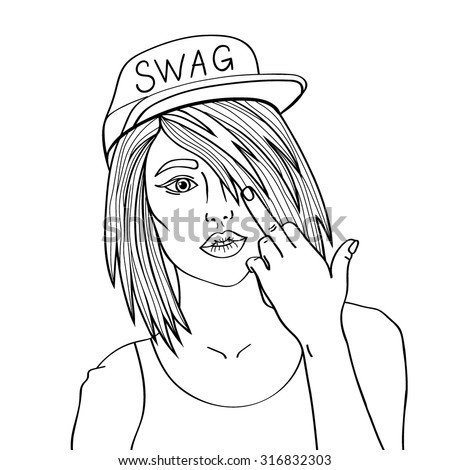 Swag girl. Pretty Young Urban Rap Girl. Lady Vector artwork, text can be removed. Doodle art isolated on white background. Cartoon vector girl character. Face emotion illustration. - stock vector