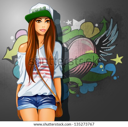 Swag girl. Vector - stock vector