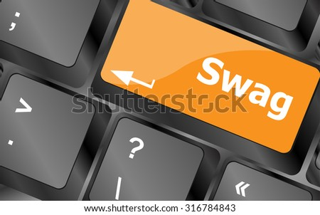 swag message on keyboard enter key, for hipsters concepts, vector illustration - stock vector