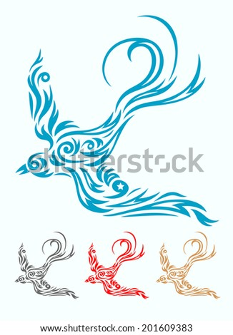 Swallow bird, ornate art vector design, easy to use your tattoo design. - stock vector