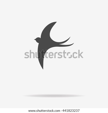 Swallow icon. Vector concept illustration for design. - stock vector