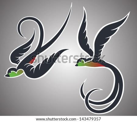 Swallows - stock vector