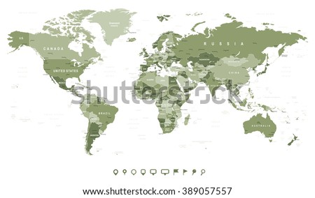 Swamp Green World Map - borders, countries and cities - illustration Image contains next layers: - land contours - country and land names - city names - water object names  - stock vector