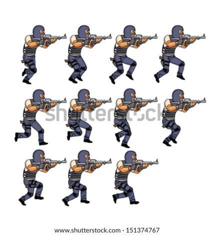 SWAT Officer Running Animation - stock vector