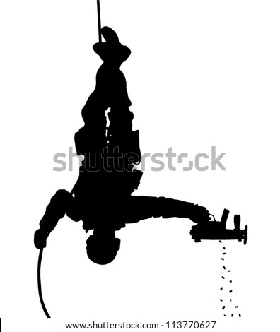 SWAT team soldier shooting while rappelling upside down vector silhouette. Fully editable - stock vector