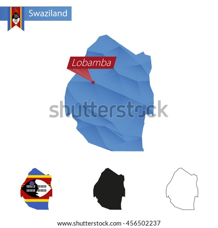 Swaziland blue Low Poly map with capital  Lobamba, versions with flag, black and outline. Vector Illustration. - stock vector