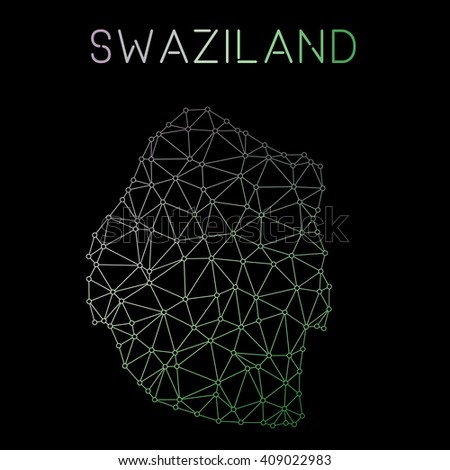 Swaziland network map. Abstract polygonal Swaziland network map design. Map of Swaziland network connections. Vector illustration. - stock vector