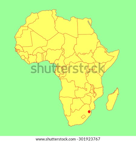 Swaziland vector map isolated on Africa map. Editable vector map of Africa. - stock vector