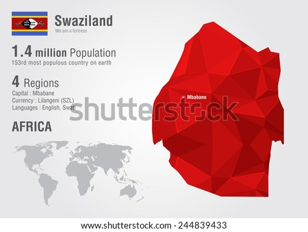 Swaziland world map with a pixel diamond texture. World Geography. - stock vector