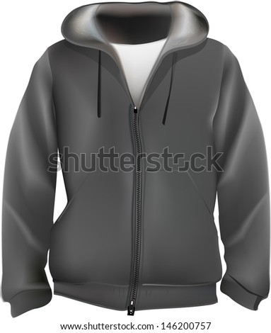 Sweat shirt with hood.Mesh used with bristle brushes.Realistic vector. - stock vector