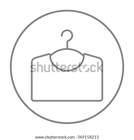 Sweater on hanger line icon. - stock vector