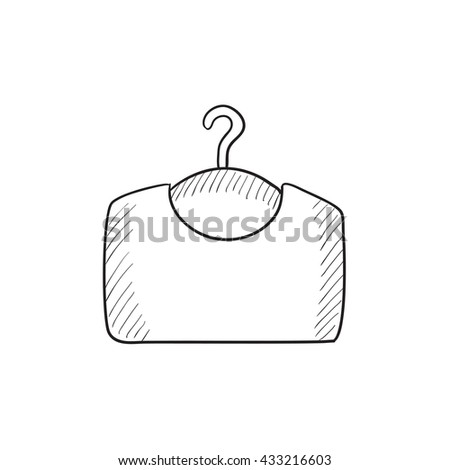 Sweater on hanger vector sketch icon isolated on background. Hand drawn Sweater on hanger icon. Sweater on hanger sketch icon for infographic, website or app. - stock vector