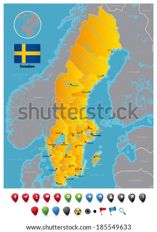 Sweden. Administrative division before reform in 1997. - stock vector