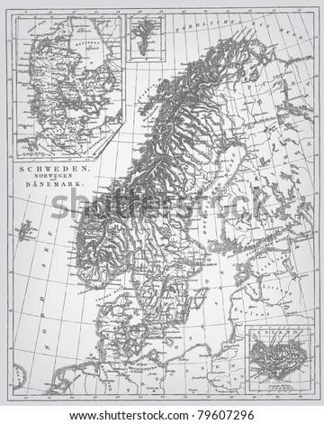 "Sweden and Norway, engraving vector map from ""The Complete encyclopedia of illustrations"" containing the original illustrations of The iconographic encyclopedia of science, literature and art, 1851. - stock vector"